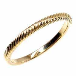 18K K18ゴールド 【送料無料】縄模様 地金リング K18YG ストレート 結婚記念 誕生日 シンプル 自分ご褒美 プレゼントK18イエローゴールド 彼女 指輪 ギフト 結婚指輪