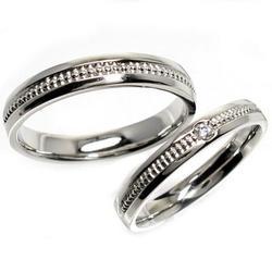 プラチナ900 【送料無料】ペアリング ビーズ 結婚指輪 天然ダイヤモンド 鑑別書 誕生日 プレゼント 彼女