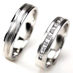 18K K18ゴールド 【送料無料】ペアリング ストレートライン 結婚指輪天然ダイヤモンド K18wg ギフト 結婚記念 マリッジ