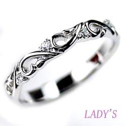 プラチナ900 【送料無料】ダイヤリング すかし模様 天然ダイヤモンド 結婚記念 ギフト 結婚指輪 誕生日 プレゼント 彼女 指輪