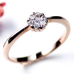 婚約指輪 【送料無料】ダイヤリング0.14ct 花 K18PGK18 ゴールド 誕生日 指輪 プレゼントギフト 彼女 ゴールド 自分ご褒美