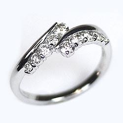 婚約指輪 【送料無料】ダイヤモンド10 リング 0.50ctSI-クラスK18WG 誕生日 指輪 プレゼント ギフト 彼女 結婚記念 自分ご褒美
