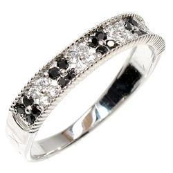 花 ブラックダイヤリング0.32ct天然ダイヤモンド 誕生日 指輪 ギフト K18WG