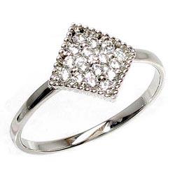 18K K18ゴールド 【送料無料】ピンキー ひし型 ダイヤリングK18ゴールド 誕生日 天然ダイヤモンド 自分ご褒美