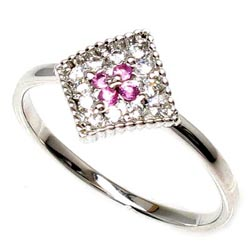 18K K18ゴールド 【送料無料】ピンキー ピンクサファイア・花ダイヤリング K18wg 誕生日 天然ダイヤモンド ギフト 自分ご褒美