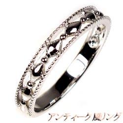 18K K18ゴールド 【送料無料】アンティーク 地金リング K18WG結婚指輪 ギフト 誕生日 マリッジリング