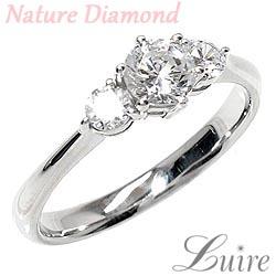 プラチナ900 【送料無料】婚約指輪ダイヤ.SIクラス 0.50ctトリロジー 天然ダイヤモンド エンゲージ