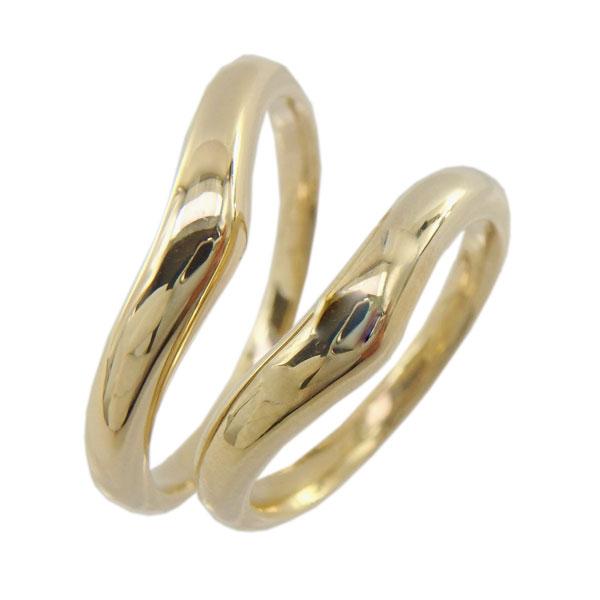 ペアリング K18ゴールド 甲丸 地金 V字 結婚指輪 記念日 【K18WG】【K18YG】【K18PG】プレゼント マリッジリング 誕生日【送料無料】