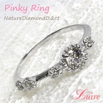 プラチナ【4月誕生石】 ダイヤモンド ピンキーリング アンティーク風 PT900 ダイヤリング 小指 誕生日 指輪 自分ご褒美【送料無料】