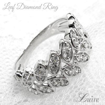 プラチナ900 リーフダイヤモンドリング 0.50ct リング 誕生日 プレゼント 彼女 指輪 自分ご褒美 【PT900】【送料無料】