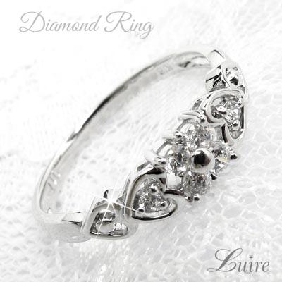 K18 ゴールド フラワー ハートダイヤモンドリング 0.25ct リング 誕生日 プレゼント 彼女 指輪 自分ご褒美 【K18WG】【K18YG】【K18PG】【送料無料】