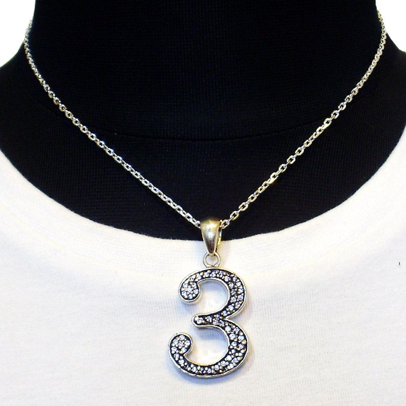 【Luz azul シルバー925 特注Lサイズ ナンバーネックレス No.3 送料無料】Silver925 ジルコニア装飾 数字ネックレス