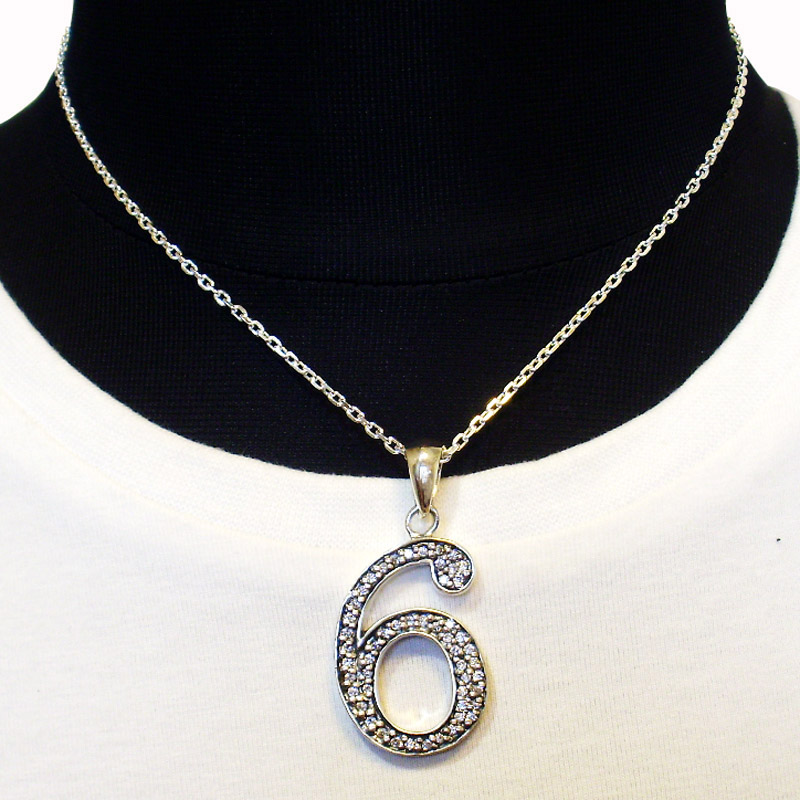 【Luz azul シルバー925 特注Lサイズ ナンバーネックレス No.6 送料無料】Silver925 ジルコニア装飾 数字ネックレス