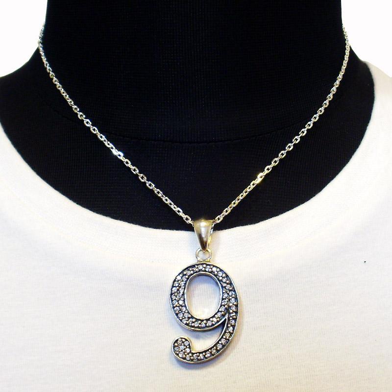 【Luz azul シルバー925 特注Lサイズ ナンバーネックレス No.9 送料無料】 ジルコニア装飾 Silver925 数字ネックレス