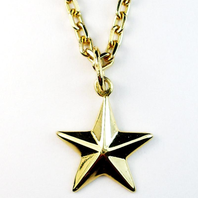【K18 星ネックレス】 Luz azul 18金製 星ペンダント&Silver925 18金コーテイングチェーンのネックレス 送料無料
