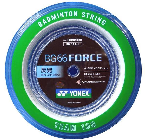 期間限定祭 バドミントン祭 YONEX BG66フォース 100m バドミントンガット キレのあるヘビースマッシュ 弾きとパワーの両立 終速 お徳用ロール BG66F-1 BG66F_1 ヨネックス ストリング 強い スマッシュ バドミントン エムアシスト
