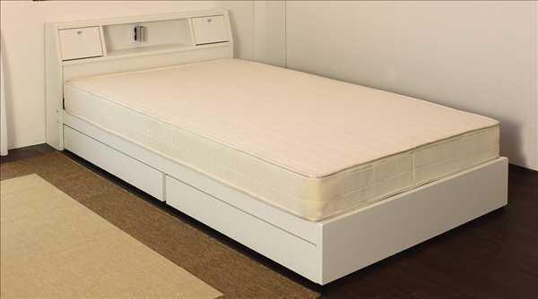 【送料無料】 日本製フレーム フラップテーブル 照明 コンセント 引出付ベッド ダブル ホワイト【02P18Jun16】 【smtb-k】【kb】