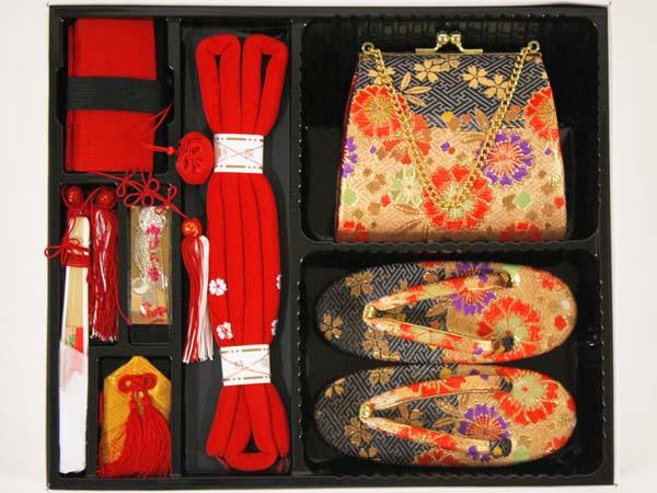 [送料込み]七五三3歳女の子用高級箱セコ7点セット(草履18cm)d02