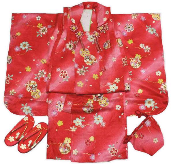 [送料込み]七五三女の子3歳着物8点セット正絹hsb14
