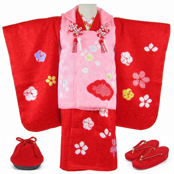 [送料込み]七五三女の子3歳着物8点セット正絹shc04