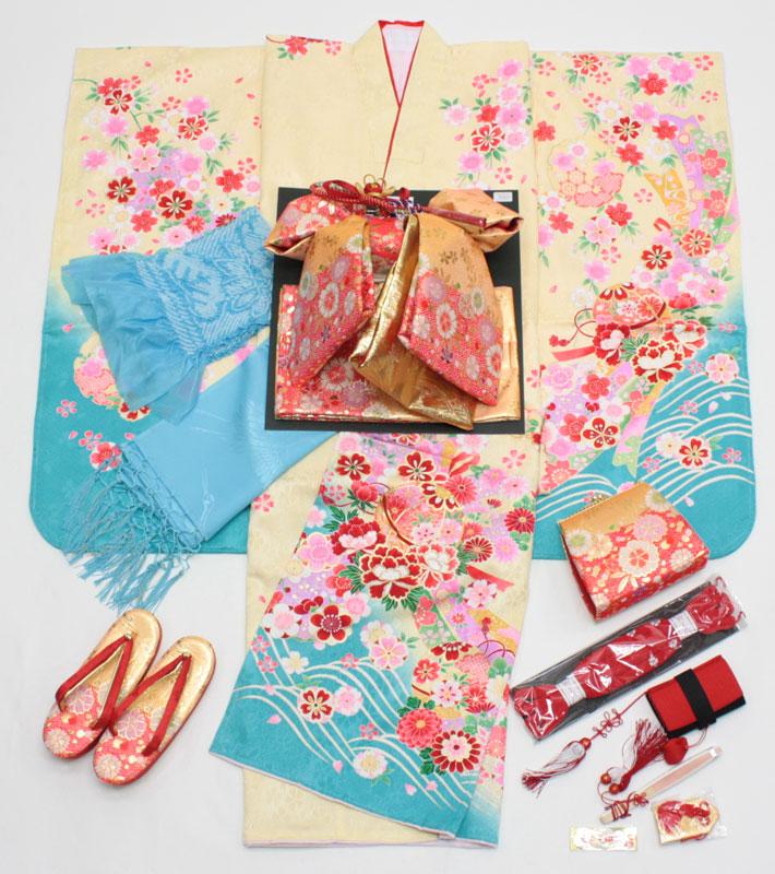 七五三女の子7歳刺繍入り着物20点セット正絹hin06