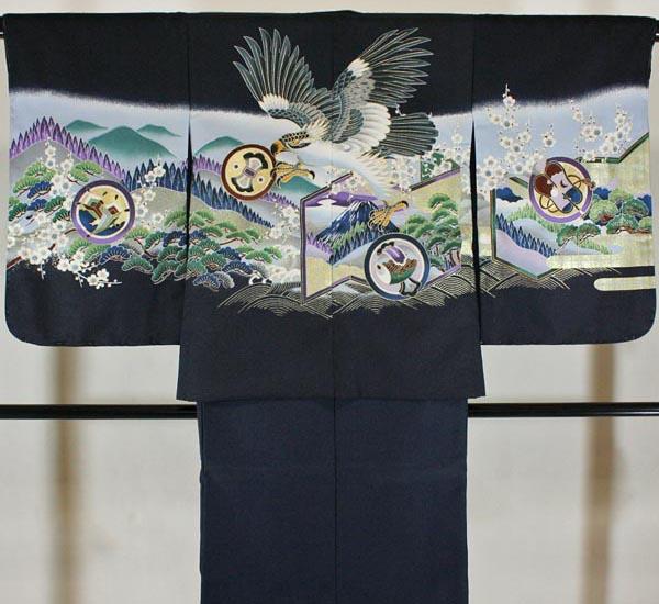 七五三男の子5歳着物袴11点セットnisi01