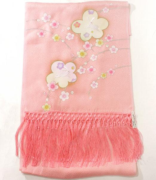七五三正絹うさぎ刺繍金彩しごき ピンクskst01