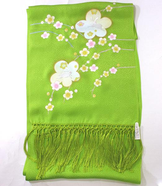 七五三正絹うさぎ刺繍金彩しごき 黄緑skst02