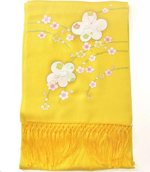 七五三正絹うさぎ刺繍金彩しごき 黄色skst04