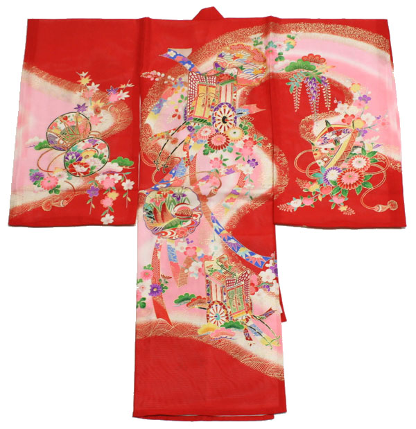[送料込み]女の子 夏のお宮参り着物 dgro01 絽 (赤)