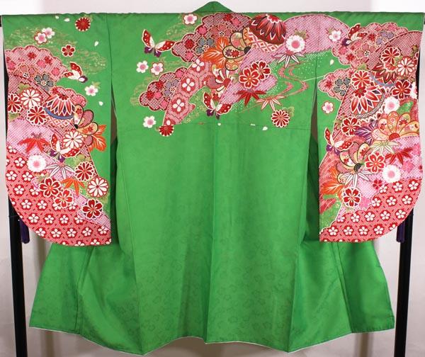 単品 [送料込み]二尺袖絵羽着物 net01緑