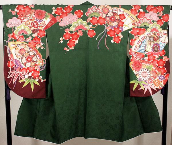 [送料込み]二尺袖絵羽着物 単品 net17緑