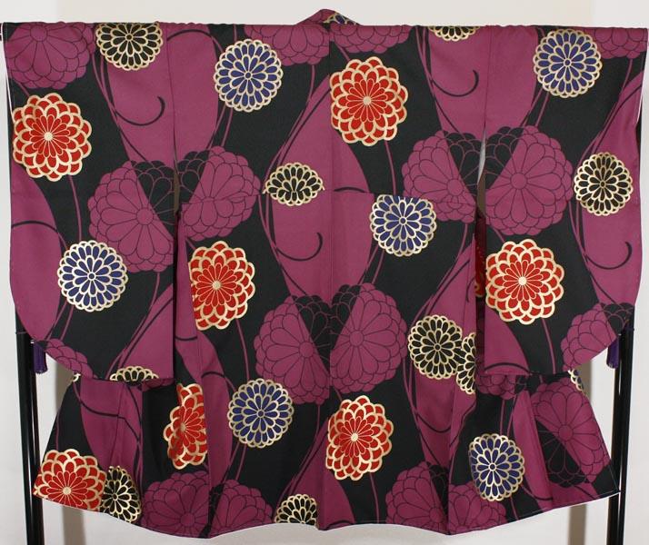 [送料込み]二尺袖着物 単品 nkt16紫