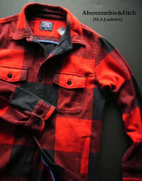 5052-3新品★アバクロンビー&フィッチ Abercrombie&Fitch★厚地チェックシャツジャケット3005★赤★MENS
