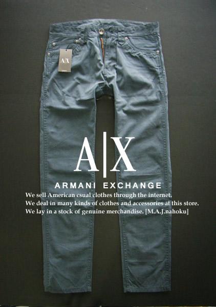 4078-81新品★アルマーニエクスチェンジ ARMANI EXCHANGE★A X デザインパンツ1623★ブルーグレー★MENS★