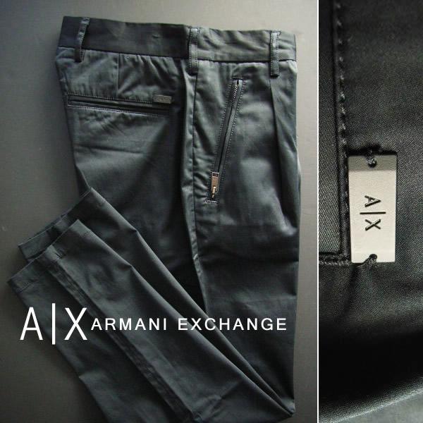 6635-6新品★アルマーニエクスチェンジ ARMANI EXCHANGE★A|X デザインプレートロゴパンツ2401★黒★MENS★