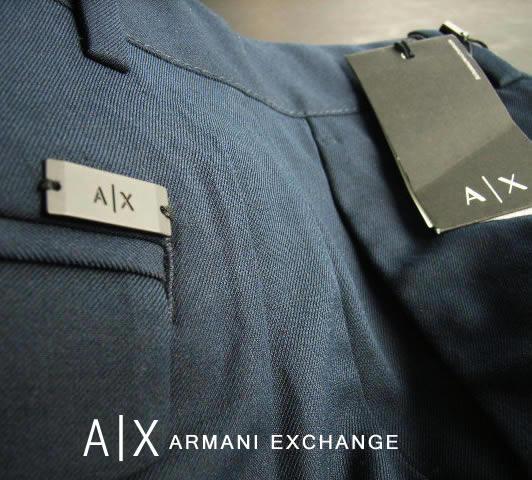 7139新品★アルマーニエクスチェンジ ARMANI EXCHANGE★A|X デザインプレートロゴパンツ2626★紺★32S★MENS★