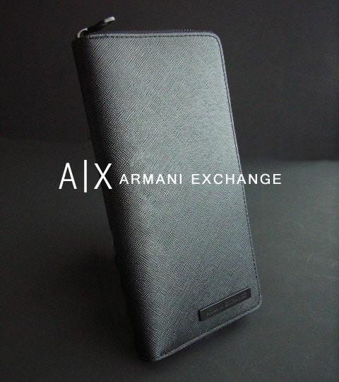 7226新品★アルマーニエクスチェンジ ARMANI EXCHANGEA|X本革ラウンドジップ長財布★黒★MENS