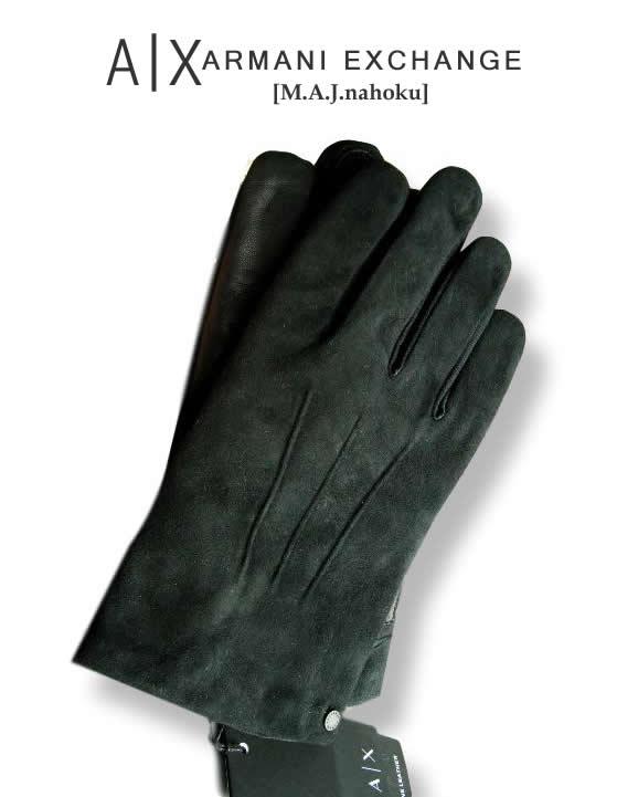 7612新品★アルマーニエクスチェンジ ARMANI EXCHANGE★A|X スウェード本革デザイン手袋2703★黒★MENS★
