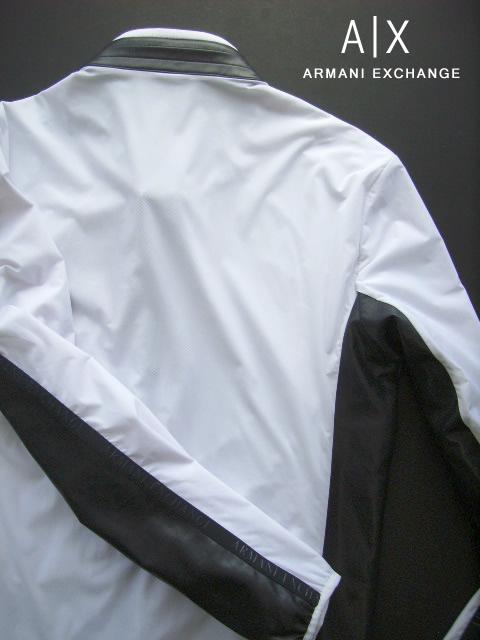 7817新品 アルマーニエクスチェンジ ARMANI EXCHANGE ダブルジップ袖ロゴジャケット2910 白系黒 L MENSb6y7Yfg