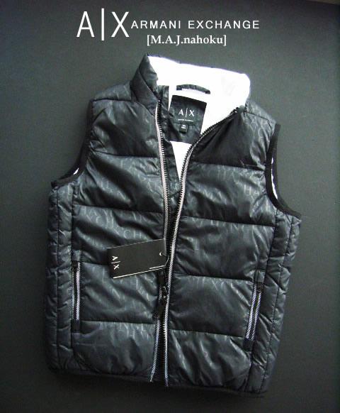 8245新品★アルマーニエクスチェンジ ARMANI EXCHANGE★ロゴロゴ中綿ベストジャケット2914★黒★6Y★子供★