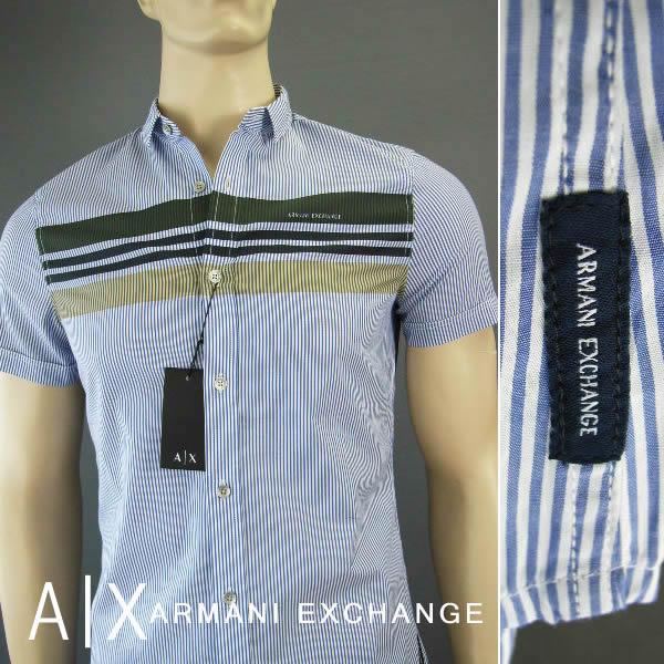 7243-4新品★アルマーニエクスチェンジ ARMANI EXCHANGE★A X胸ロゴストライプ半袖シャツ2616★青白★MENS★