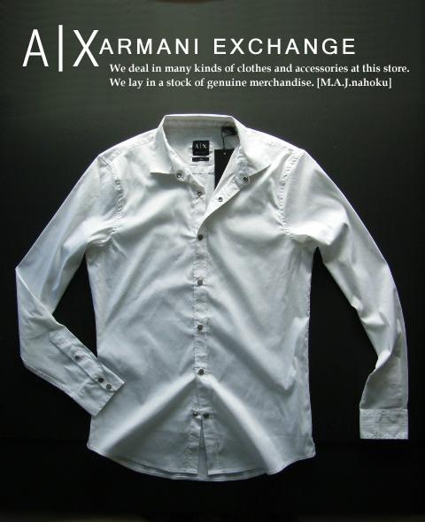 7526-35新品★アルマーニエクスチェンジ ARMANI EXCHANGE★織ストライプホックシャツ2803★白★MENS★