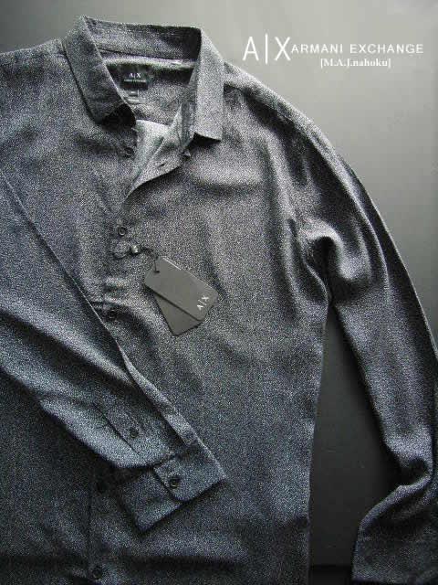 8475新品★アルマーニエクスチェンジ ARMANI EXCHANGE★デザインシャツ3004★黒系白★XXL★MENS★大きいサイズ