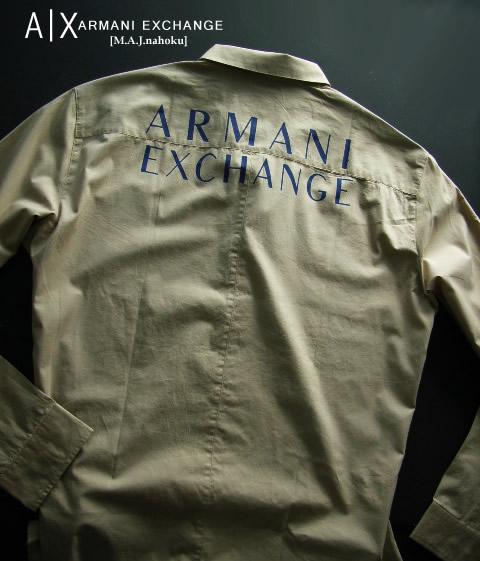 8482新品★アルマーニエクスチェンジ ARMANI EXCHANGE★デザインシャツ3008★ベージュ★XXL★MENS★大きいサイズ
