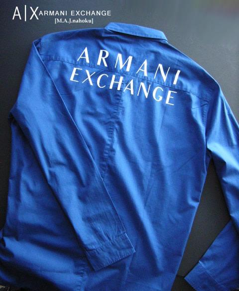 8483新品★アルマーニエクスチェンジ ARMANI EXCHANGE★デザインシャツ3012★紺★XXL★MENS★大きいサイズ