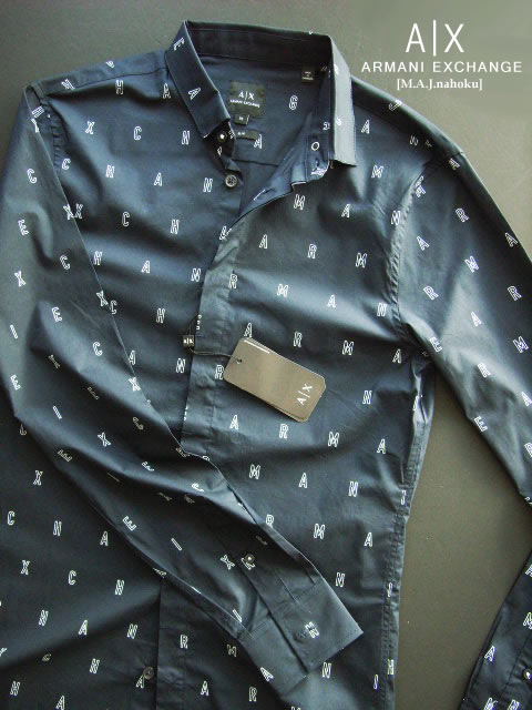 8500-1新品★アルマーニエクスチェンジ ARMANI EXCHANGE★ロゴロゴデザインシャツ3014★紺系白ロゴ★MENS★
