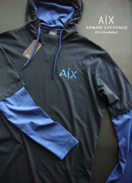8544新品★アルマーニエクスチェンジ ARMANI EXCHANGE★デザイン胸ロゴパーカー3103★紺★L(XL相当)★MENS★