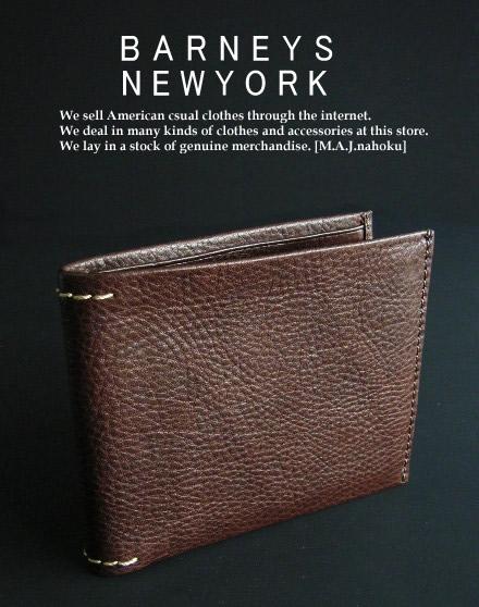 812新品★バーニーズ ニューヨーク BARNEYS NEWYORK★本革2折デザイン財布★焦げ茶★MENS