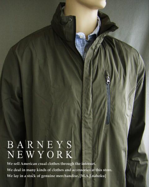 430新品★バーニーズ ニューヨーク BARNEYS NEWYORK★ナイロンジップジャケットコート★オリーブ★M★MENS
